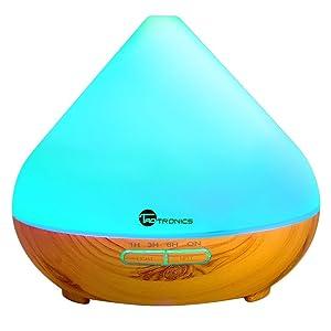 Aroma Difusor 300ml TaoTronics Humidificador Aromaterapia de Aceites Esenciales (Luz nortuna, 2 modos, ambientador de vapor frío, 7 colores, auto-apagamiento) 13W para Yoga, Dormitorio