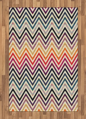 Lunarable Chevron Area Rug Vintage Toned Colorful Large