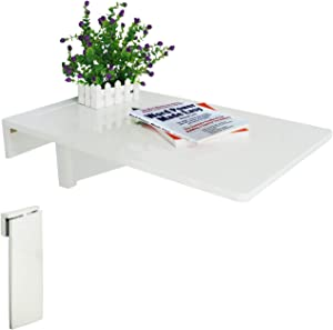 LiRen-Shop Wall-Mounted Folding Table, Drop-Leaf Floating Computer Desk Dining Table for Home Kitchen Office (White) (27