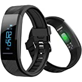 ELEGIANT C11 Fitness Watch Activity Tracker, Fitness Tracker IP67 Waterproof OLED Touch Screen Smart Bracelet with Heart Rate Monitor, Step Calorie Counter, Sleep Monitor, Pedometer Tracker (Black)