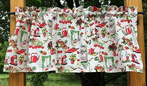 Fifties Style Red Cream Retro 50s Vintage Kitchen Handcrafted Curtain Valance 61CUwRveJNL