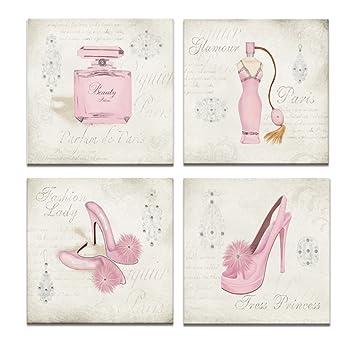 b2fab62f040fb Canvas Wall Art,Fashion Dress,High Heels,Perfume,Clothes shop,shoe store  Wall Decor Art,Canvas Prints with Frame,Unique Design