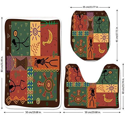 3 Piece Bathroom Mat Set,Primitive,Funky Tribal Pattern Depicting African Style Dance Moves Instruments Spiritual,Multicolor,Bath Mat,Bathroom Carpet Rug,Non-Slip by iPrint