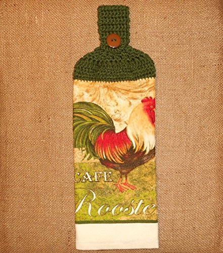 Cafe Rooster Hanging Dish Towel Double Sided With A Crochet Top, Kitchen Decor