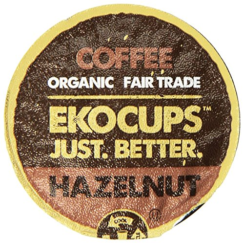 EKOCUPS Hazelnut Flavored Organic Fair Trade Gourment Coffee Single Serve Cups For Keurig K Cup Brewer, 40 Count
