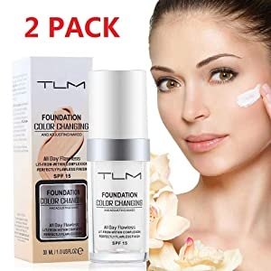 TLM Concealer Cover, (2pcs) Flawless Colour Changing Foundation Makeup, Warm Skin Tone Foundation liquid, Base Nude Face Moisturizing Liquid Cover Concealer for Women and Girls