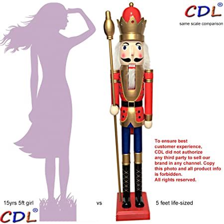 cdl 150cm 60 5ft tall life size largegiant red christmas wooden nutcracker