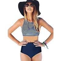 CHILLY SwimWear LOOKATOOL Womens High Waist 2 Piece Stripe Bikini Spa Swimsuit Bathing Suit