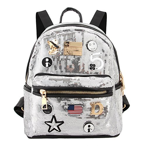 Shoulder Satchel Mini Travel Liliam Silver2 Bag Party Women Shiny Totes Sequin Daypack Backpack xBXSw4