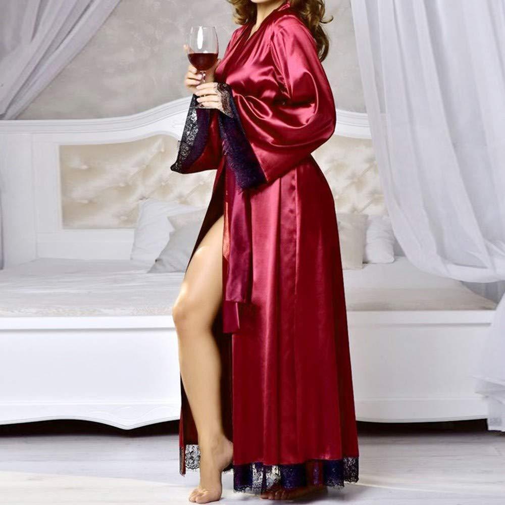 ZIYOU Damen Morgenm/äntel Reizvolle Lange Silk Kimono Morgenmantel Bademantel Babydoll Nachthemd Kleider