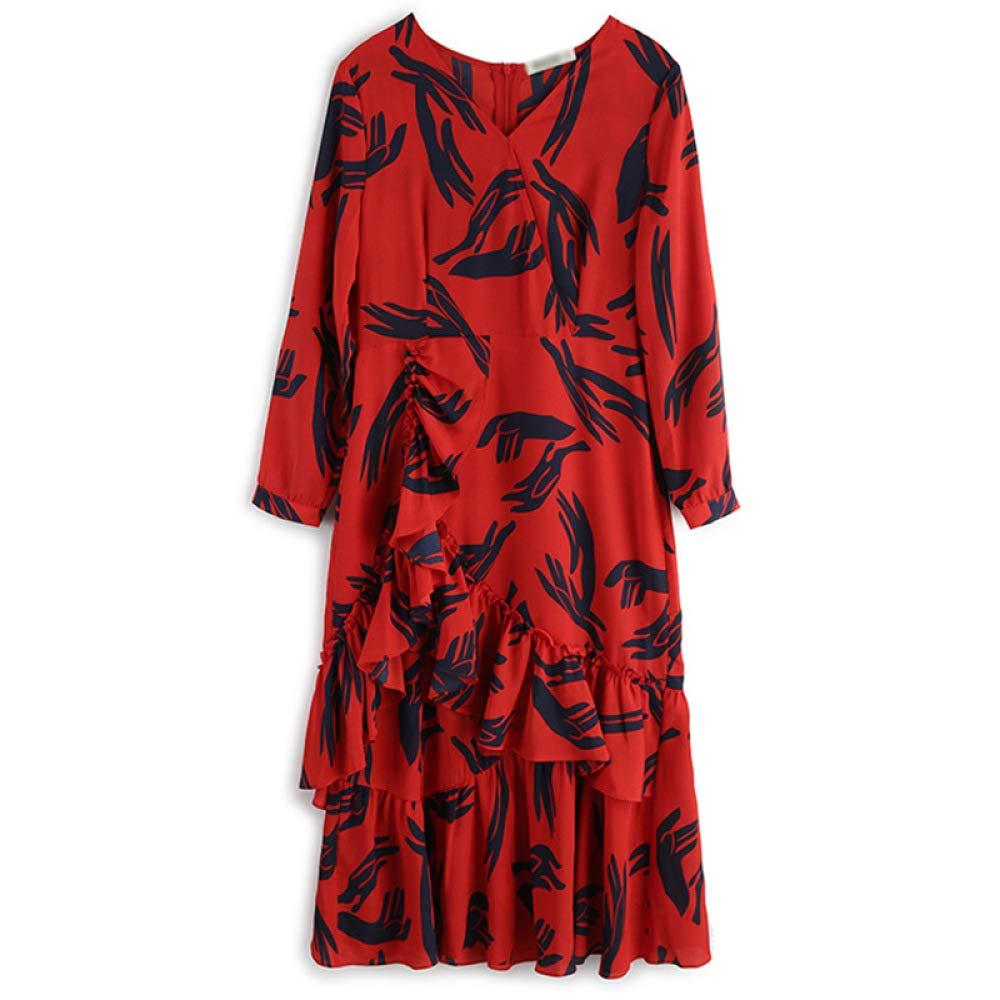 nouler Les Volants dimpression dautomne des Femmes Fendent Les Cadeaux De  Longues Robes 9e86c8000f4