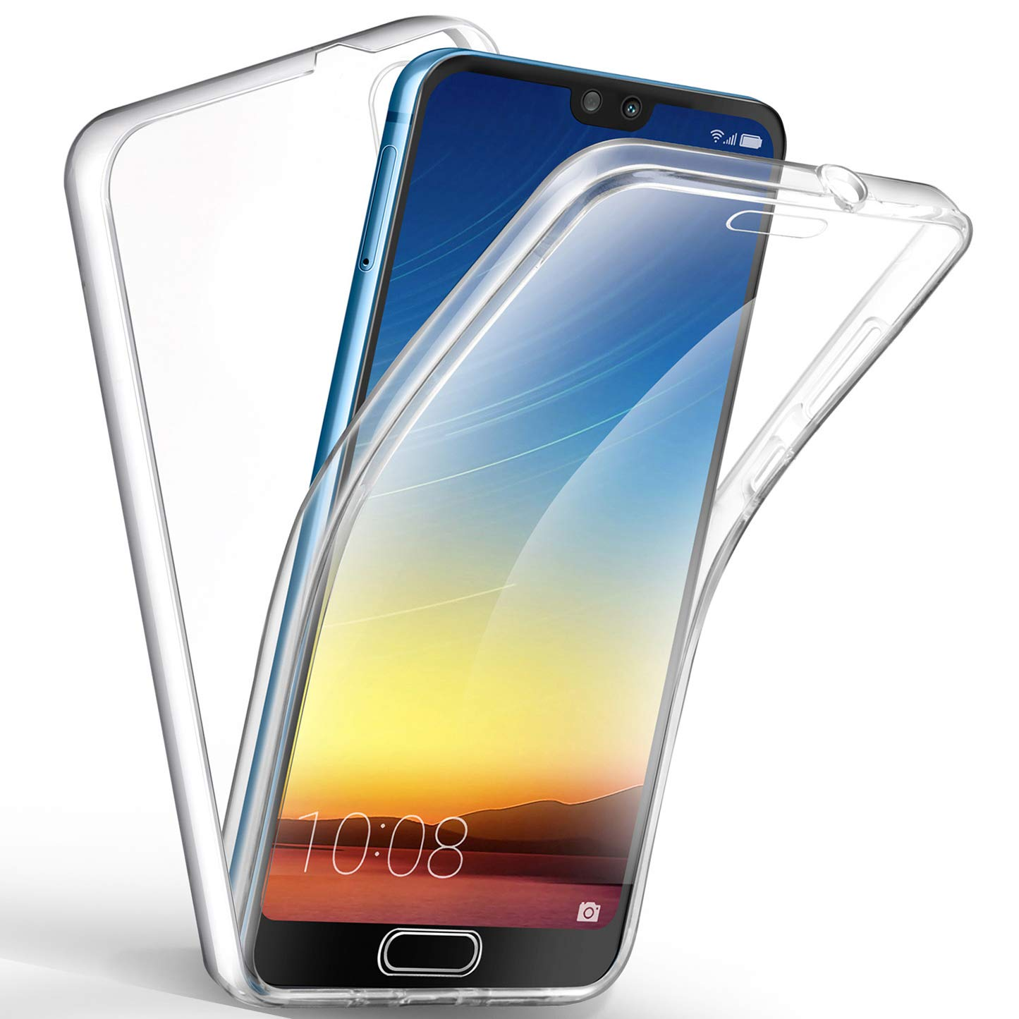 Sunwine Funda Huawei P20 Pro Carcasa, Transparente Ultra Fina Doble 360 Grados Full Cover Integral de Silicona TPU Delantera + Trasera rigido PC Funda ...