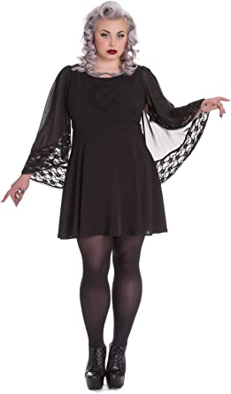 Spin Doctor Bewitched Black Moon /& Stars Sheer Lace Wing Sleeves Black Dress