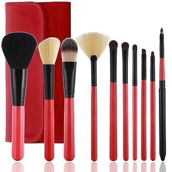 8bf5d4f1fe94 Premium 10 Pcs Makeup Brush Set Professional Face Eye Shadow Eyeliner  Foundation Blush Lip...