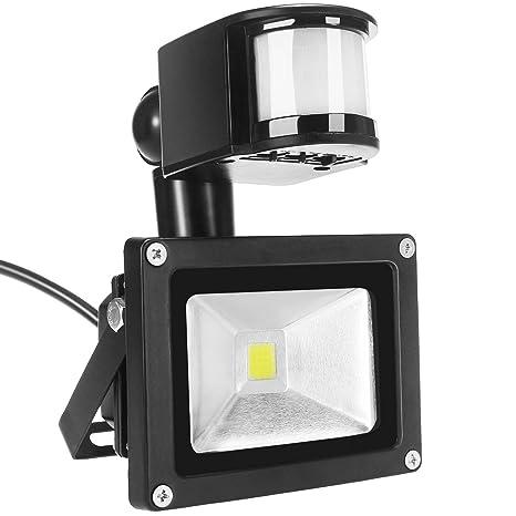 Foco LED luces, dizauL® 10 W IP65 impermeable PIR Sensor de movimiento exteriores foco
