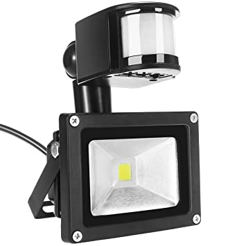 Foco LED Luces,10W IP65 Impermeable PIR Sensor de Movimiento Exteriores Foco LED de Alta