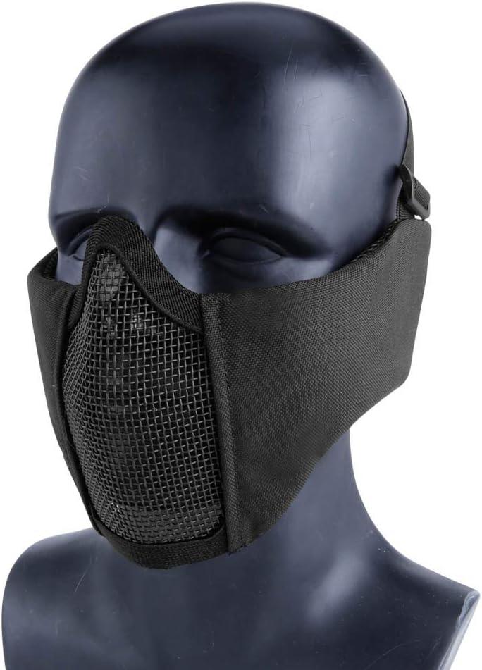 Aoutacc Airsoft - Máscara de malla para airsoft, media cara, con protección para los oídos, para caza o paintball