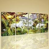 Large Unicorn Horse Painting Classic Canvas Art Bedroom Four Panels Print, Large horse Wall Art, Bedroom, Iris Blue