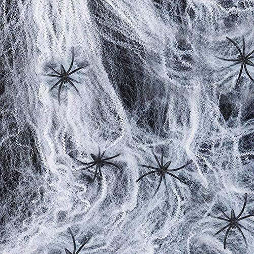 Spider Web Decoration Halloween Stretch Spider Webs Spooky Spider Webbing with 30 Fake Spiders for Party & House -