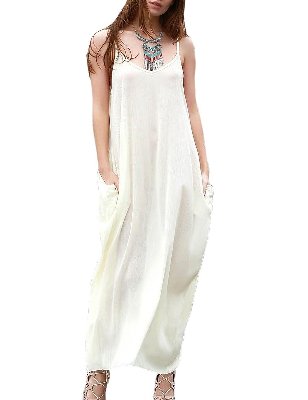 CRAVOG Damen Maxikleid Strandkleid Sommerkleid Chiffon Lang Kleider