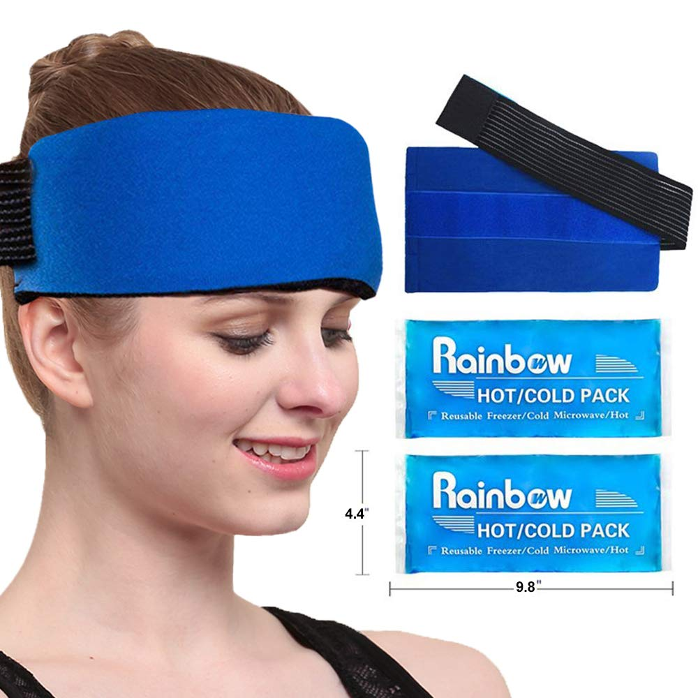 """Gel Ice Pack Wrap for Injuries, Reusable Cold/Hot Compress for Migraine Headaches and Tension Relief, Flexible Therapy for Knee, Shoulder, Back, Neck, Ankle (2 Pack: 9.8""""x 4.4"""" Each)"""