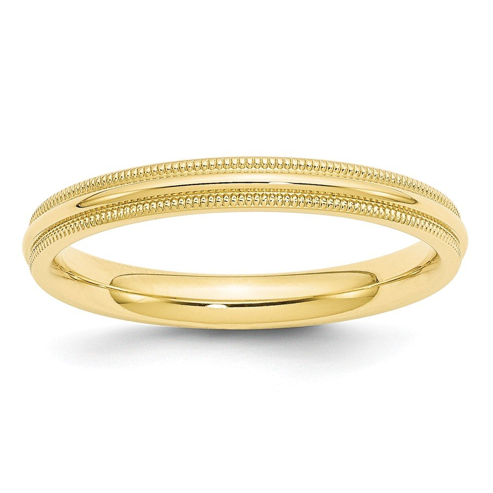 10k Yellow Gold 3mm Milgrain Comfort Fit Band Ring Size 9.5 Ideal Gifts For Women