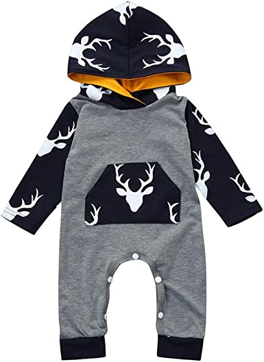 Christmas Baby Romper,Fineser Newborn Baby Girls Boys Kids Long Sleeves Antlers Print Romper Jumpsuit Christmas Clothes