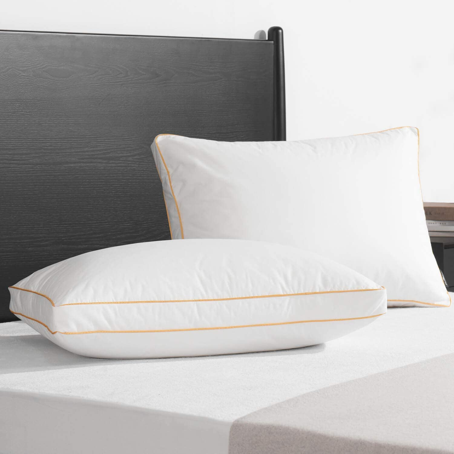 downluxe Premium Down Feather Pillows - 2 Pack Gusseted Bed Pillows for Sleeping with Soft 100% Downproof Cotton Shell, Queen Size