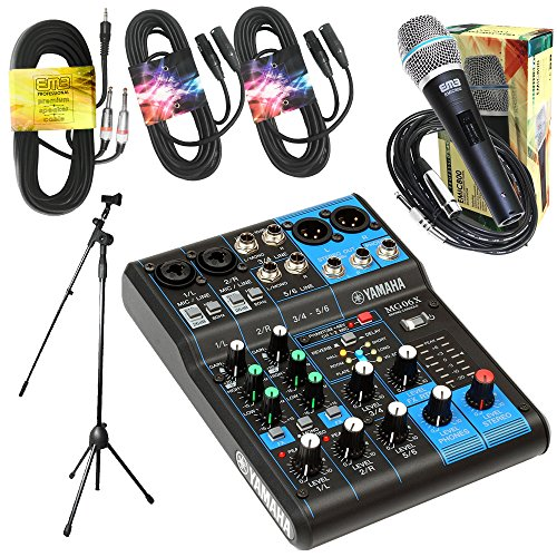 Watt Compact Mixer - Yamaha Package Bundle - Yamaha MG06X 6-Channel Mixer + EMB Emic800 Microphone + 2 XLR XLarge Cables + 3.5mm to Dual 1/4