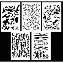 "Acid Tactical 5 Pack - 14"" Camouflage Airbrush Spray Paint Stencils - Duracoat Gun Duck Boat Camo - Multicam Digital Tiger Stripe Camo+"