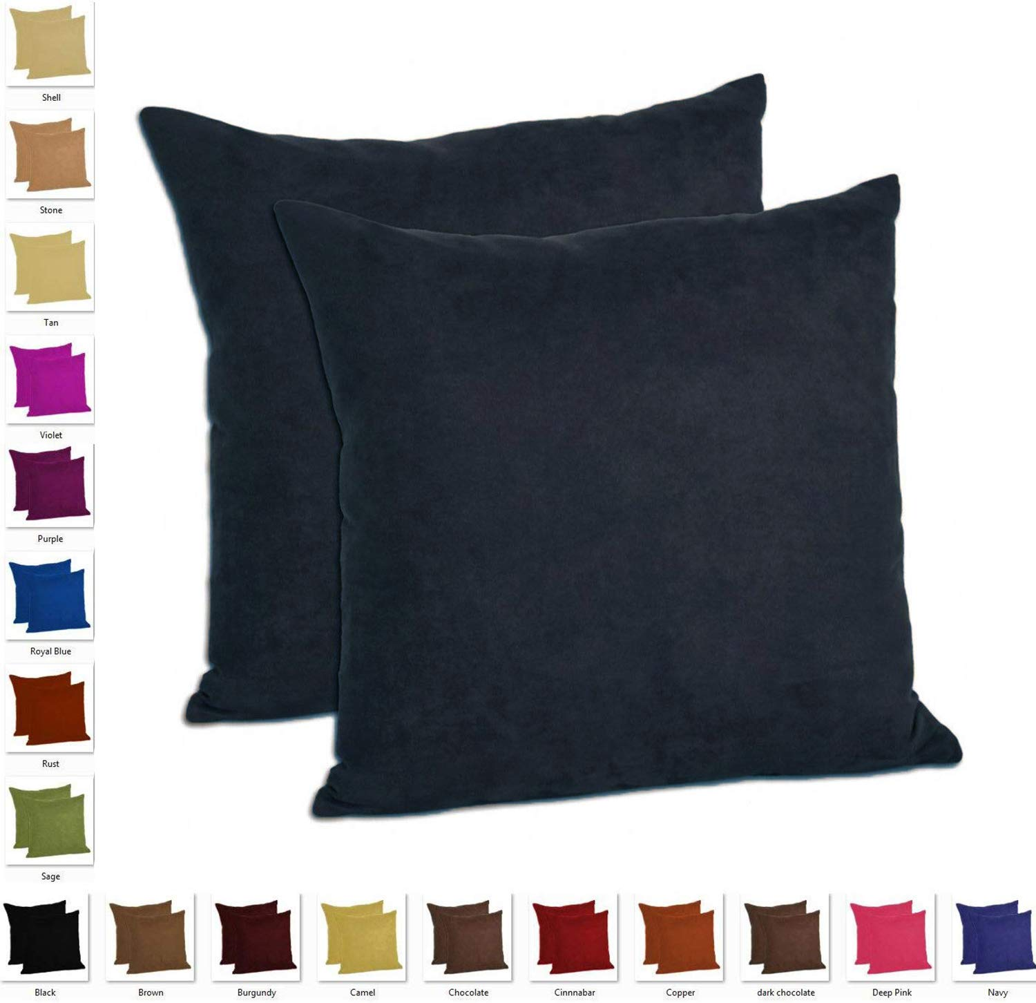 MoonRest - Set of 2 Microfiber Decorative Pillow, Fully Assembled with Hidden Zipper Filled with Synthetic Down Pillow Inserts (18