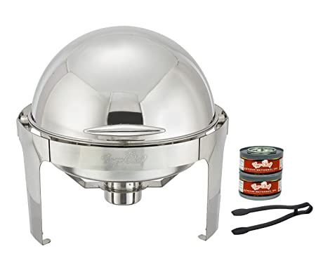 Tiger Chef 6 Quart Stainless Steel Round Roll Top Chafer Chafing Dish Set With A Serving Tong And 2 Chafing Dish Fuel Gels Burns 2.5 Hours