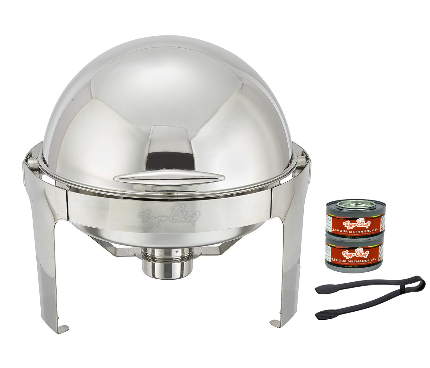 Tiger Chef Stainless Steel Round Roll Top Chafer, 6 Quart Chafing Dish Set with 2 Chafing Dish Fuel Gels and a Serving Tong