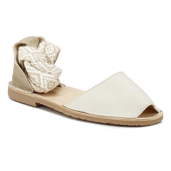 Solillas Femmes Cream Lilia-Tribal Ankle Tie Sandales-UK 8 6uqBMID
