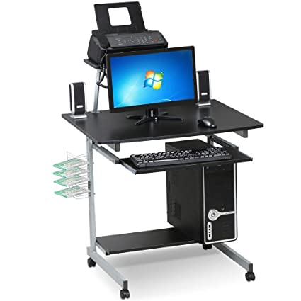 Amazoncom Yaheetech Mobile Computer Desks With Keyboard Tray
