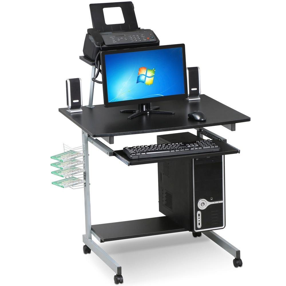 go2buy Small Spaces Computer Desk with Keyboard Tray Drawer and Printer Shelves Mobile Laptop Table Workstation with Monitor Stand on Wheels (Black)