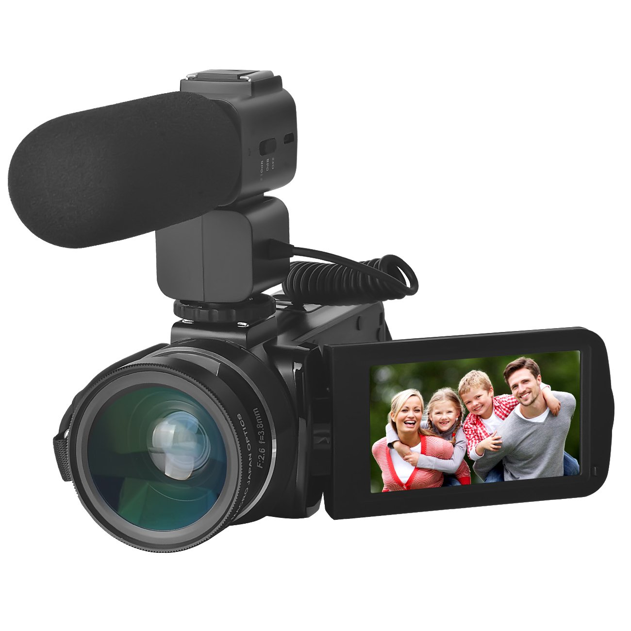 Video Camera, Sicanal Full HD 1080P 30FPS Portable Digital HDV Wifi Video Camcorder DVR with External Microphone and Wide Angle Lens (HDV-Z20)