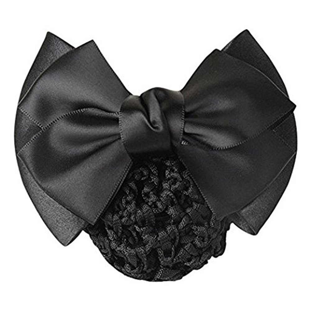 1 Piece Bowknot Hair Clip with Hairnet Snood Net Bun Cover Bow Hair Barrette Hair Clip(Black)