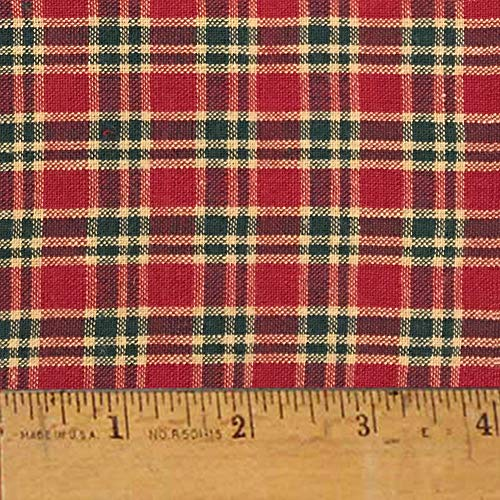 Cranberry Christmas 4 Cotton Homespun Plaid Fabric by JCS - Sold by The Yard