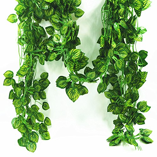 YHuaM Fake Vines 80 Leaves Plant Vines Decorative Vines Garden Vines Hotels,Offices and Home Cover Decor 12 pcs Artificial Hanging Plants Silk Green Leaf Garlands (Watermelon leaves) (Decorative Leaves)