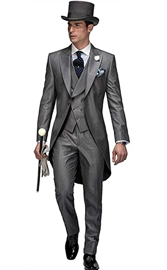 Kelaixiang Groom Suit for Wedding Grey Silver Tuxedo 3 Pieces Tailored