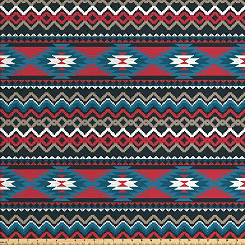 Ambesonne Native American Fabric by The Yard, Primitive Style Aztec Folkloric Striped Design Antique Mayan Patterns, Decorative Fabric for Upholstery and Home Accents, 3 Yards, Black Blue Coral ()