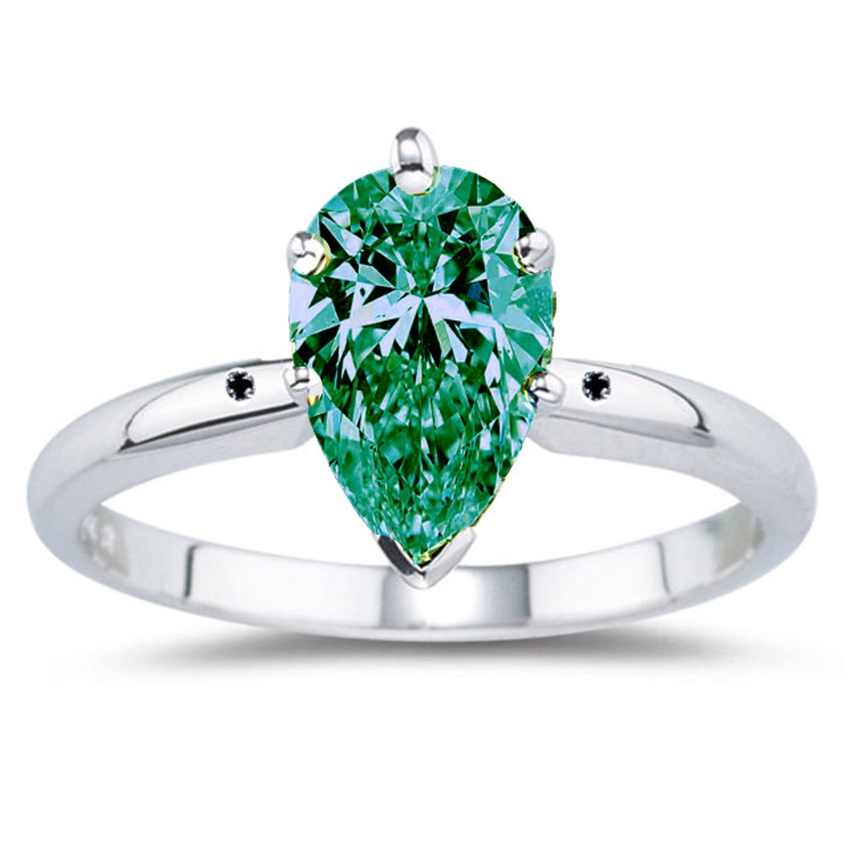 RINGJEWEL 7.81 ct I2 Pear Moissanite Solitaire Engagement Silver Plated Ring Green Blue Color Size 7