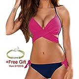 Gocheaper Bikini, Women Solid Push Up Solid Bandage Bikini Set Swimwear Swimsuit Beachwear