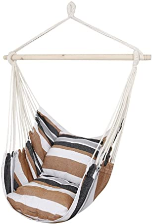 Amazon Com Cctro Hanging Rope Hammock Chair Swing Seat Large Brazilian Hammock Net Chair Porch Chair For Yard Bedroom Patio Porch Indoor Outdoor 2 Seat Cushions Included Garden Outdoor