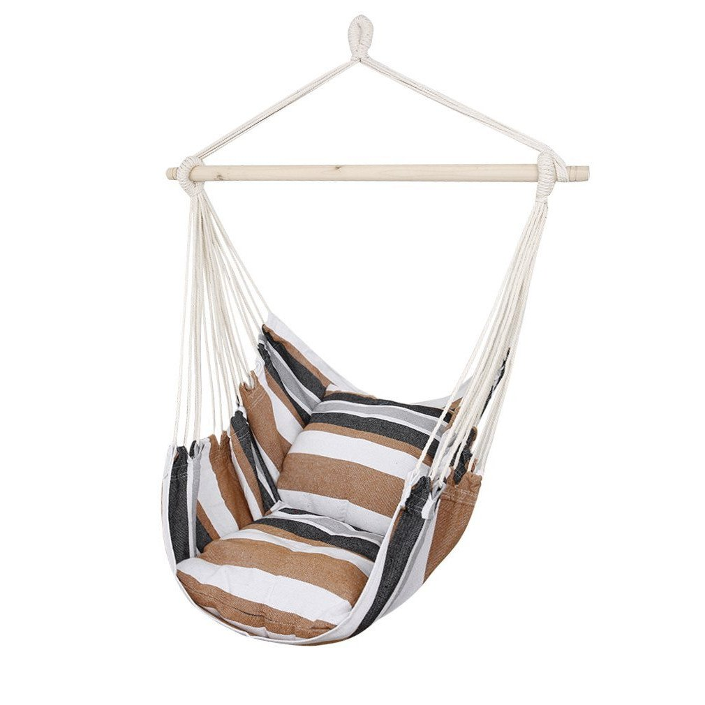 CCTRO Hanging Rope Hammock Chair Swing Seat, Large Brazilian Hammock Net Chair Porch Chair for Yard, Bedroom, Patio, Porch, Indoor, Outdoor - 2 Seat Cushions Included (Brown & Orange)