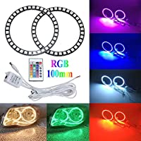 Qiuko 4pcs 100mm RGB Halo Rings Headlight Car Angel Eyes Motorcycle With 24 Keys Controller For BMW Car Headlight