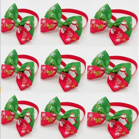 30Pcs Lot Big Sale High Fashion Handmade Christmas Dog Bow Tie Dogs Festival Tie Pet Accessories Wholesale Mix Style Y03