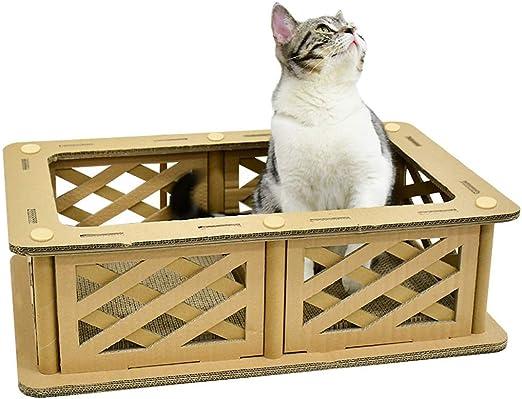 QBYLYF Rascador de cartón para Gatos. Alfombrilla con Catnip Cat ...