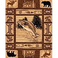 CR Rustic Lodge Log Cabin Decor Fish Bear Elk Area Rug (3 Feet 10 Inch X 5 Feet 2 Inch)